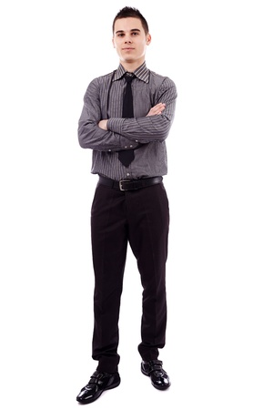 Full length pose of successful young businessman, isolated on white background, arms crossed Stock Photo - 18159192
