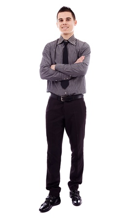 Full length pose of successful young businessman, isolated on white background, arms crossed Stock Photo - 18159243