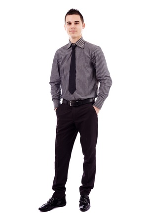 Full length pose of successful young businessman, isolated on white background Stock Photo - 18159237