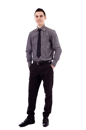 Full length pose of successful young businessman, isolated on white background, hands in pockets Stock Photo - 18159197