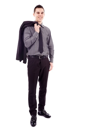 Young businessman holding his coat over his shoulder in full length pose, isolated on white background Stock Photo - 18159200