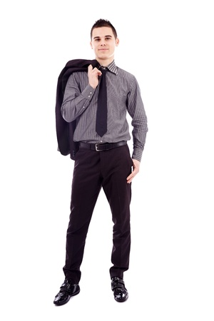 Young businessman standing with his hand in his pocket in full length pose, isolated on white background Stock Photo - 18159198