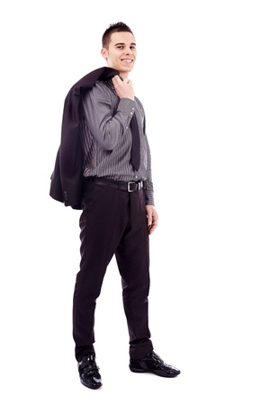 Young businessman holding his coat over his shoulder in full length pose, isolated on white background Stock Photo - 18159193