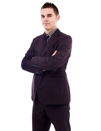 Closeup pose of successful young businessman, isolated on white background Stock Photo - 18159203