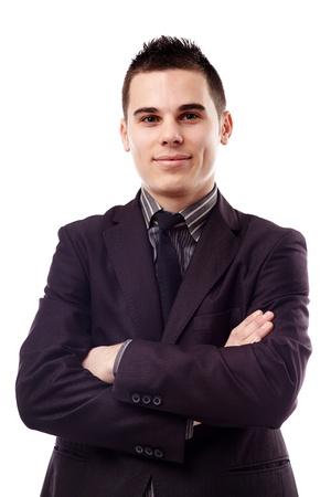 Closeup pose of successful young businessman, isolated on white background Stock Photo - 18159164