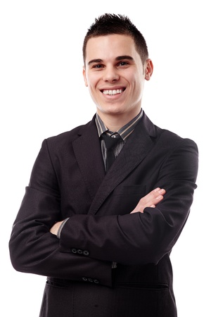Closeup pose of successful young businessman, isolated on white background Stock Photo - 18159161