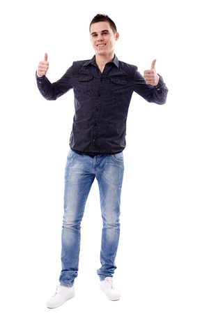 Full length pose of successful young man giving thumbs up, isolated on white background Stock Photo - 18159174