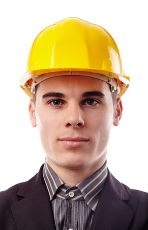Closeup of young engineer in hard hat, isolated on white background Stock Photo - 18159172