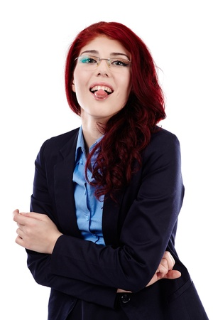 Young woman showing her tongue against white background in closeup pose Stock Photo - 18159206