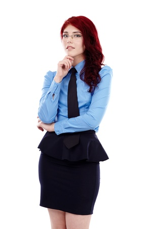 secretary skirt: Young pensive teacher in closeup pose, isolated on white background