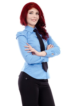 Smiling young businesswoman standing with her arms crossed, in closeup pose, isolated on white background Stock Photo - 18159176