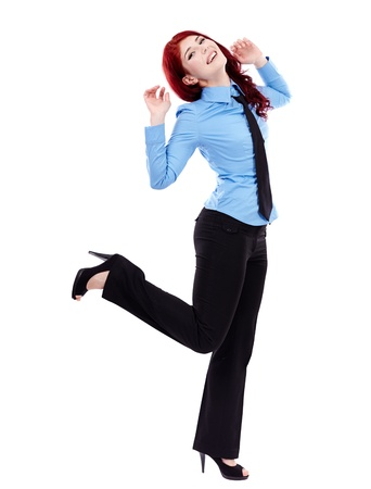 Cheerful young businesswoman in full length pose, isolated on white background, hands up Stock Photo - 18159251