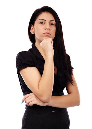 Closeup pose of a pensive businesswoman, hand at chin, isolated on white background photo