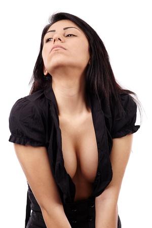 Glamour closeup of hot Latino woman, isolated on white background Stock Photo - 18492001
