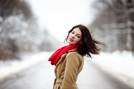 winter woman: Portrait of a beautiful brunette with hair blown by wind in the winter