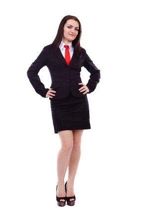 Full length portrait of a businesswoman with hands on hips isolated on white background Stock Photo - 19659242