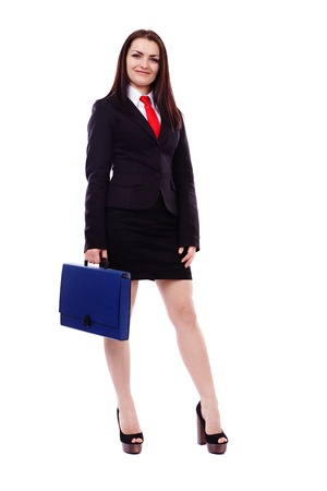 Full legth portrait of a businesswoman holding a briefcase isolated on white background photo