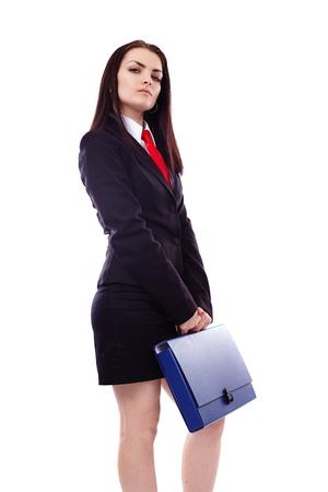 arrogancia: Retrato de una mujer de negocios con un maletín azul