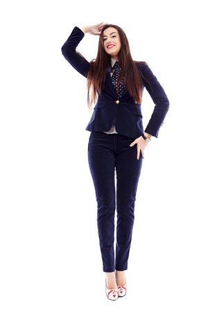 Full length portrait of a businesswoman isolated on white background photo