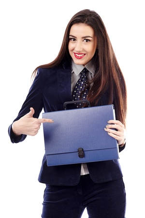 Portrait of a businesswoman holding a blue briefcase isolated on white background photo