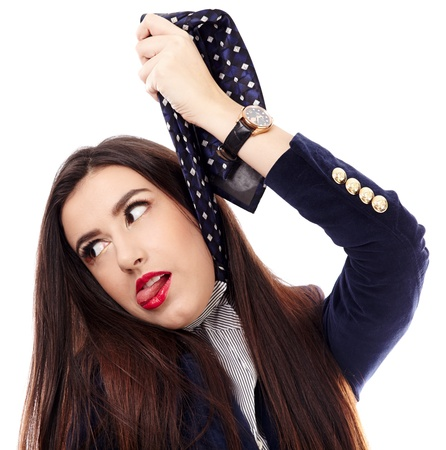 Closeup portrait of a businesswoman gesturing hanging herself with necktie photo