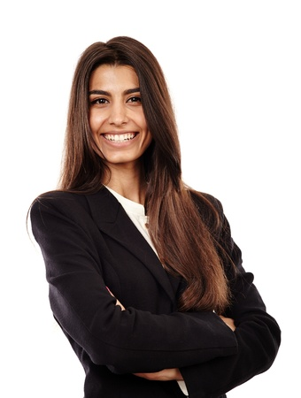 secretary woman: Closeup of a succesful arab businesswoman with her arms folded Stock Photo