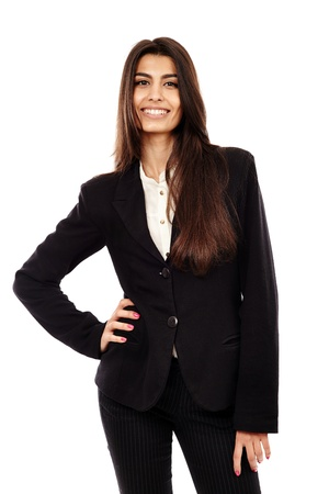 Cheerful Middle Eastern businesswoman isolated on white background, closeup Stock Photo - 20244918