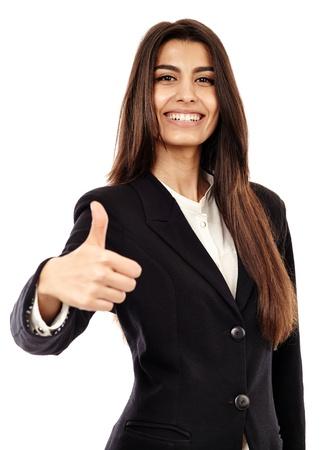 D'affaires du Moyen-Orient faisant thumbs up signe isolé sur fond blanc Banque d'images - 20244924