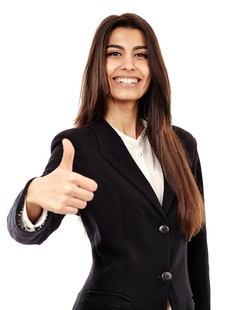 Middle Eastern businesswoman making thumbs up sign isolated on white background Foto de archivo