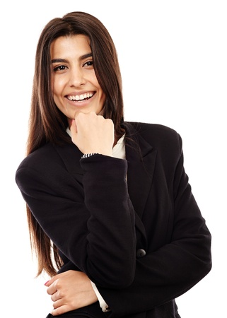 Cheerful Middle Eastern businesswoman isolated on white background, closeup Stock Photo - 20245016
