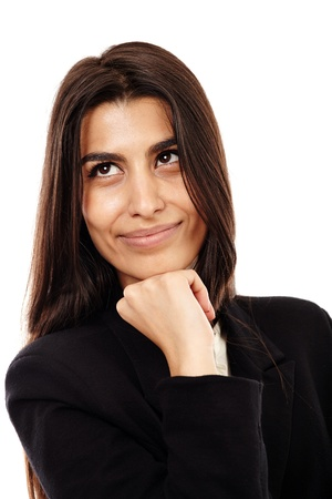 Cheerful Middle Eastern businesswoman isolated on white background, closeup Stock Photo - 20245159