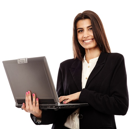 Middle Eastern business lady standing with her laptop, isolated on white background photo