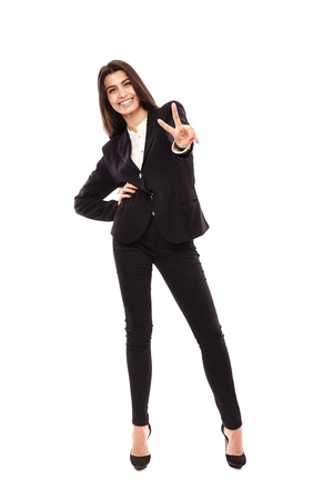 Full length of a young Middle Eastern businesswoman isolated on white background Stock Photo - 20206689