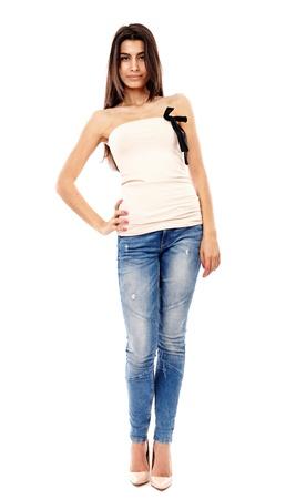 Beautiful Arab girl isolated on white, full length portrait Stock Photo - 20245444