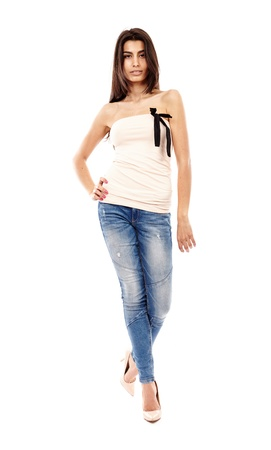 Beautiful Arab girl isolated on white, full length portrait Stock Photo - 20245440