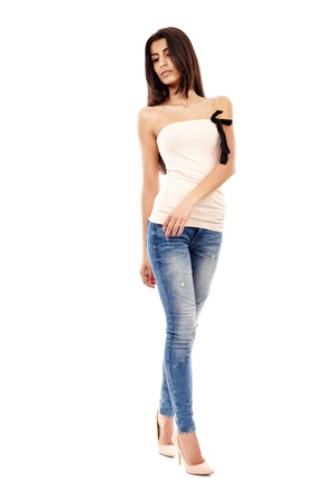 Beautiful Arab girl isolated on white, full length portrait Stock Photo - 20245441