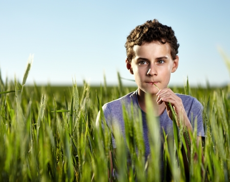 Portrait of a teenage farm boy in a green wheat field at sunset against clear blue sky photo