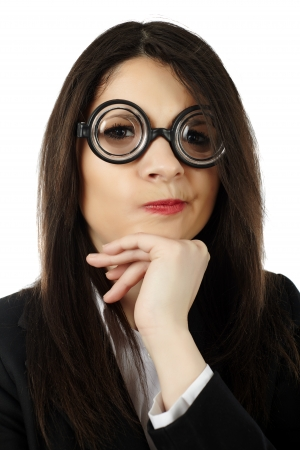 unattractive: Closeupt of unattractive woman wearing funny glasses with hand on chin isolated on white