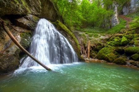 The beautiful Evantai waterfall from Galbenei Gorge in the Carpathian mountains Stock Photo - 22858881