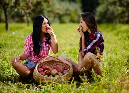 Sexy beautiful women taking a bite of an apple sitting near baskets of apples photo