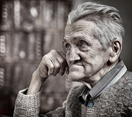 Closeup portrait of an expressive old man in his 80s Stock Photo - 25602560