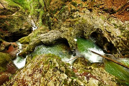 baile: Baile Romane carvings by river Galbena in Apuseni mountains, Romania