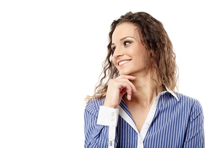 Closeup of a successful businesswoman with hand on chin looking to the left photo
