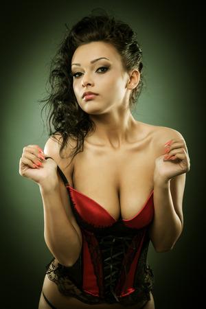 Closeup portrait of a sexy glamorous young woman photo