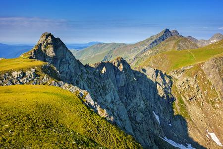 View of the spectacular Fagaras mountains in Romania Stock Photo