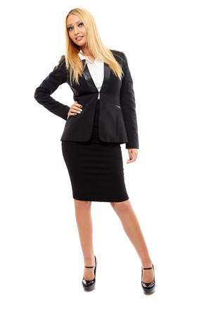 Full length portrait of a positive businesswoman isolated on white background photo
