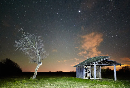 Night landscape with a barn and a tree on a meadow photo
