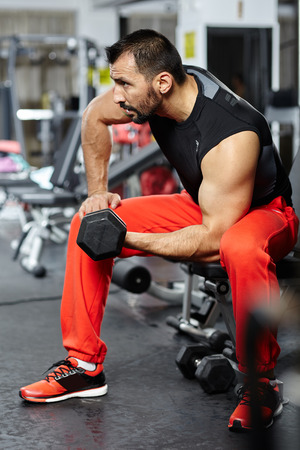Fitness athlete doing biceps workout with dumbbell in a gym photo
