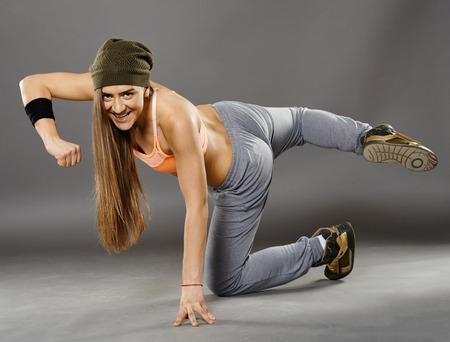 moves: Young street dancer girl doing moves Stock Photo