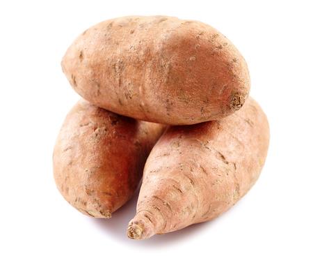 unpeeled: Unpeeled sweet potatoes isolated on white background Stock Photo